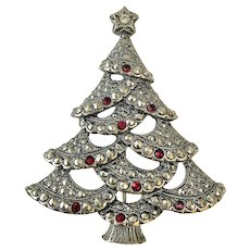 AVON  Christmas Tree Pin Brooch with Pretty Ruby Crystals