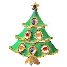 JJ signed  Christmas Tree with Colorful Crystals Pin Brooch