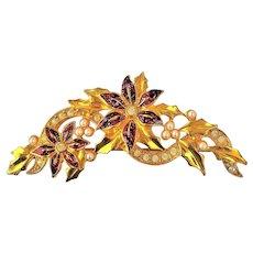 50% OFF - AVON Christmas Poinsettia with Rhinestones Pin Brooch