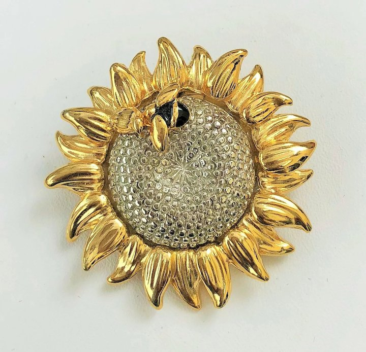 eeef2fe6b LIZ CLAIBORNE Sunflower with Bumble Bee Pin Brooch : Toby the Golden ...