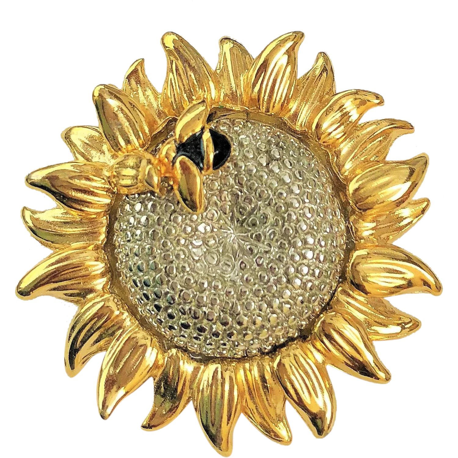 6a9880e04 LIZ CLAIBORNE Sunflower with Bumble Bee Pin Brooch : Toby the Golden Hero  Jewelry   Ruby Lane