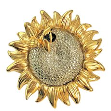 Liz Claiborne Sunflower with Bumble Bee Pin Brooch signed LC