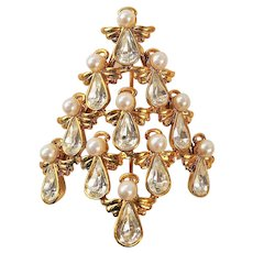 AVON  Nice Angel Christmas Tree Pin Brooch signed BW from AVON