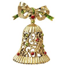 GERRYS  Christmas Bell with Bow Pin Brooch