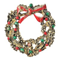 GERRYS Christmas Wreath with Red Bow Pin Brooch