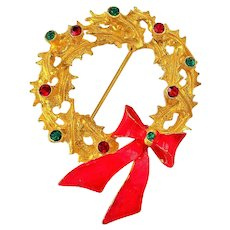 50% OFF - MYLU signed Christmas Wreath with Red Bow and Rhinestones Pin Brooch