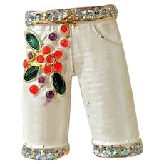 Cute Christmas Pant's with Red Flowers and Green Leaves Pin Brooch