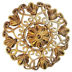CROWN TRIFARI signed Goldtone Flower Pin Brooch