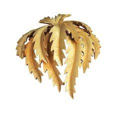 CROWN TRIFARI - Goldtone Leaf Cluster Pin Brooch