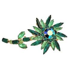 Stunning Green Rhinestone Flower Brooch