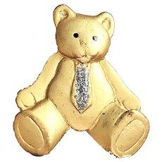 Cute Goldtone Teddy Bear Pin Brooch with a Neck Tie