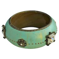 Beautiful Teal Color Wood Bangle Bracelet with Brass , Faux Pearls and Rhinestones