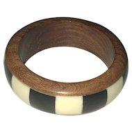 Polished Shell and Wood Bangle Bracelet