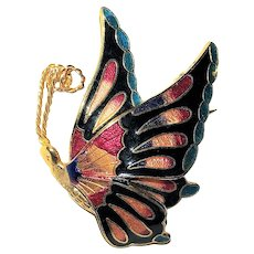 Beautiful Goldtone with Colorful Enamel Butterfly Pin Brooch