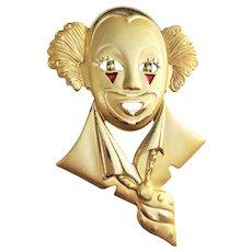 AJC  signed Cute Clown Goldtone Pin Brooch
