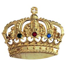 Vintage Goldtone Crown with Colored Crystals Pin Brooch signed JJ
