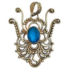 Vintage 1940's Sterling Silver 925 Pendant with Aqua Blue Stone
