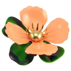 SARAH COVENTRY Peach Enameled Flower with Leaves