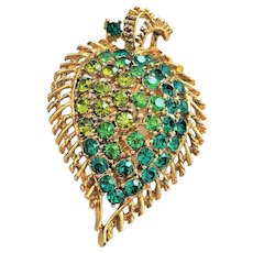 Pretty Goldtone Leaf Pin Brooch with Green Rhinestones