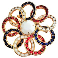 Beautiful Red, White and Blue Flower Pin Brooch
