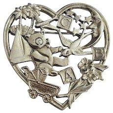 Cute Baby Toys Heart Shaped Silvertone Brooch