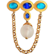Very Pretty Goldtone Green and Blue Pin Brooch with a Drop Chain