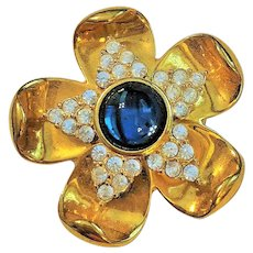 SALE - NAPIER - Goldtone Flower Pin Brooch with Blue Center and Rhinestones