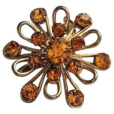 50% OFF - CORO - Goldtone Flower Pin Brooch with Amber Color Rhinestones