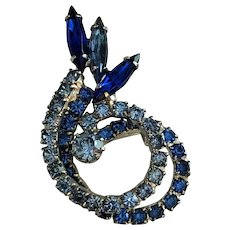 50% OFF - Royal Blue and Sky Blue Rhinestone Pin Brooch