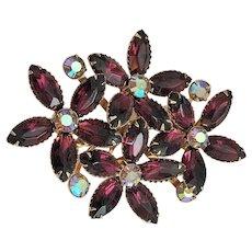 50% OFF - Deep Purple Rhinestone Flowers Pin Brooch