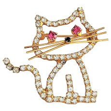 Cute Rhinestone Sitting Kitty Cat Pin Brooch
