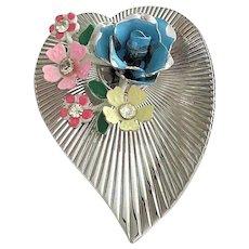 CORO - Vintage Silvertone Heart Pin Brooch with Beautiful Flowers