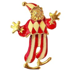 50% OFF SALE - Cute Red and White Clown Pin Brooch with Moving Legs