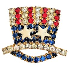 50% OFF - American Red, White and Blue Top Hat Rhinestone Pin Brooch