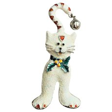 50% OFF - Christmas Kitty Cat Pin Brooch with a Jingle Bell on her Tail