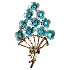 50% OFF - Beautiful Pastel Blue Flower Bouquet Pin Brooch with Pastel Blue Rhinestones