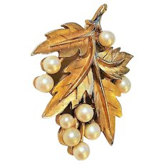 50% OFF - TRIFARI - Classic Goldtone Leaves and Faux Pearl Cluster Pin Brooch