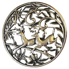 REDUCED - SARAH COVENTRY Silvertone Deer in the Woods Pin Brooch / Pendant