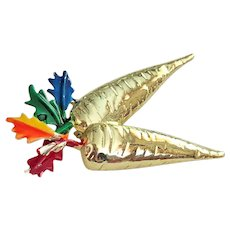 Cute Goldtone Carrots Pin Brooch with Colorful Leaves