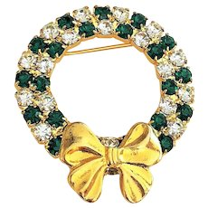 50% OFF - Christmas Wreath with Clear and Green Rhinestones