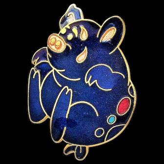 50% OFF - Blue Enameled Pig Pin Brooch