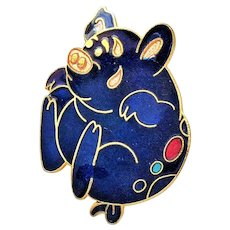 Cute Goldtone with Blue Enameled Pig Pin Brooch
