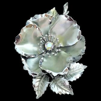 50% OFF - CORO - Silvertone Flower Pin Brooch with Rhinestone Center