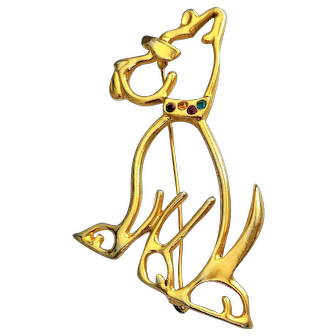 COOL DOG Goldtone  Pin Brooch with Sun Glasses