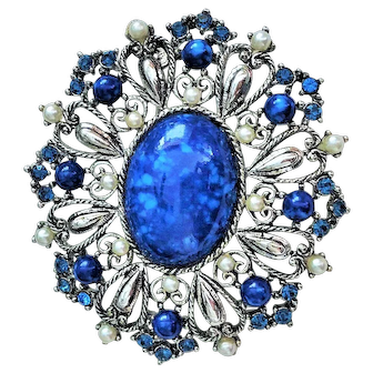 50% OFF - KRAMER - Silvertone and Cobalt Blue Pin Brooch with Rhinestones and Faux pearls