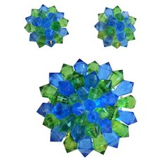 Vintage 1950's Green and Blue Pin Brooch and Clip Earring Set marked Hong Kong