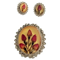 Vintage Dried Rose Bud Flowers Pin Brooch / Pendant with Earrings Set marked Alpaca Mexico