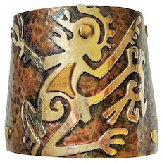 Vintage Mixed Metal Cuff Bracelet from Mexico - Red Tag Sale Item