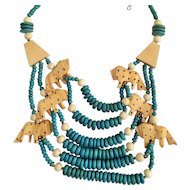 Carved Lion Multi Strand Necklace with Teal Color Wood Beads