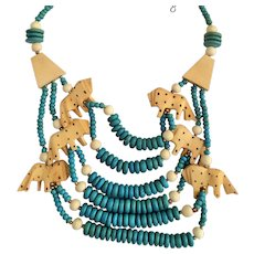 Vintage Ethnic Hand Carved Lion Necklace with Wood Beads